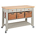Eddingtons Three Drawer French Grey Lambourn Trolley With Solid Beech Top