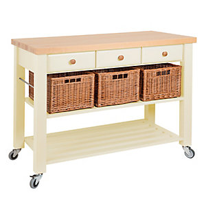 Eddingtons Three Drawer Cream Lambourn Trolley With Solid Beech Top