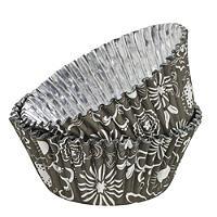 36 PME Foil Lined Cupcake Cases - Floral Monochrome Design