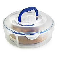 Lock & Lock Cake Carrier Caddy & Clear Lid - Round Holds 25cm Cakes