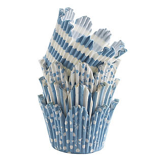 50 Mary Berry Greaseproof Cupcake Cases - Blue Fluted