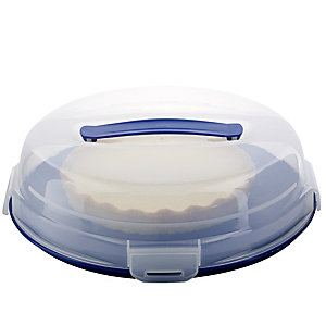 Cake Carrier Caddy & Clear Lid - Round Holds 24cm Flans & Tarts