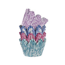 50 V&A Lace Greaseproof Cupcake Cases - Pink & Blue Fluted