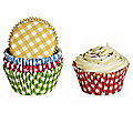 100 Lakeland Greaseproof Cupcake Cases - Bright Colours Gingham