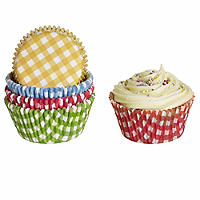 100 Gingham Cup Cake Cases