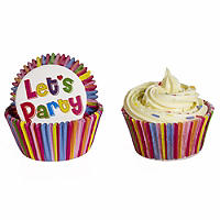 50 Lakeland Greaseproof Cupcake Cases - 'Let's Party' Stripe Design