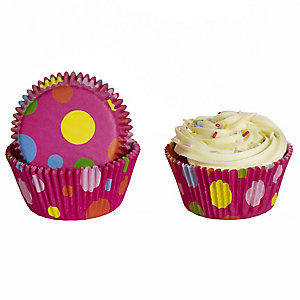 50 Lakeland Greaseproof Cupcake Cases - Pink Bright Spots
