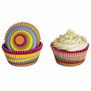 50 Lakeland Greaseproof Cupcake Cases - Bright Colour Swirls