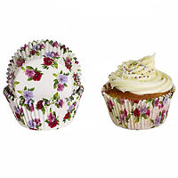 50 Lakeland Greaseproof Cupcake Cases - Mini Pansy Flowers