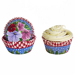 50 Lakeland Greaseproof Cupcake Cases - Pansy Flower & Gingham