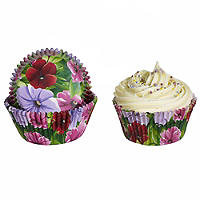 50 Lakeland Greaseproof Cupcake Cases - Large Pansy Flowers