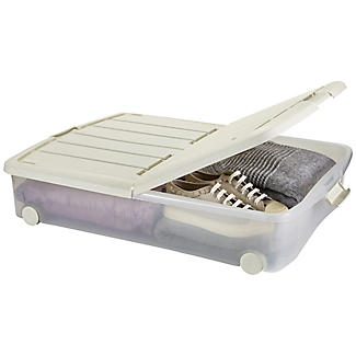 Lakeland Underbed Plastic Storage Box On Wheels 50L