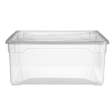 Clearview Stackable Clear Plastic Shoe Storage Box & Lid 18L