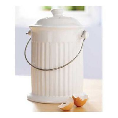 Compost Crock Tabletop Food Bin 2 8l White
