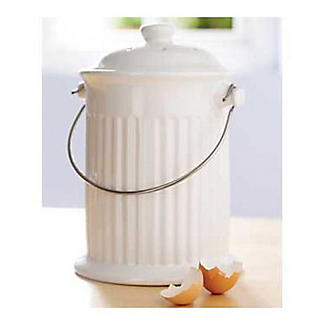 Ceramic Crock Food Compost Bin - White 2.8L