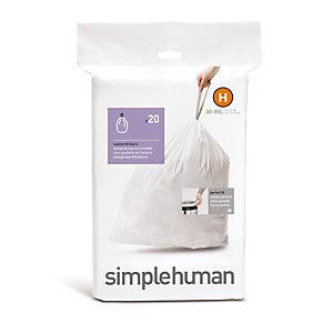 20 Simplehuman Size H Drawstring Bin Liners - White Bags 30L