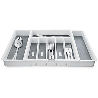 Expanding Drawer Organiser Cutlery Tray 6-8 Hole - White alt image 1