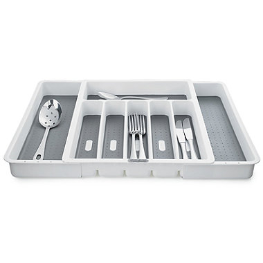 Expanding Drawer Organiser Cutlery Tray 6-8 Hole - White