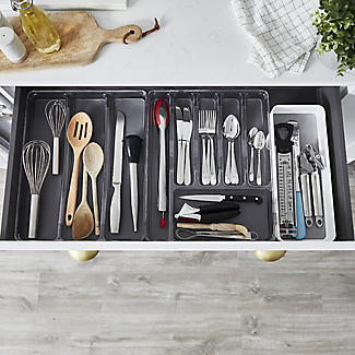 Expanding Drawer Organiser Cutlery Tray 6-8 Hole - White alt image 2
