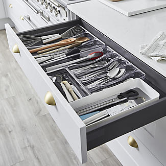 Expanding Drawer Organiser Cutlery Tray 6-8 Hole - White alt image 3