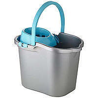 Grey & Blue Cleaning Mop Bucket, Handle & Wringer - 16L
