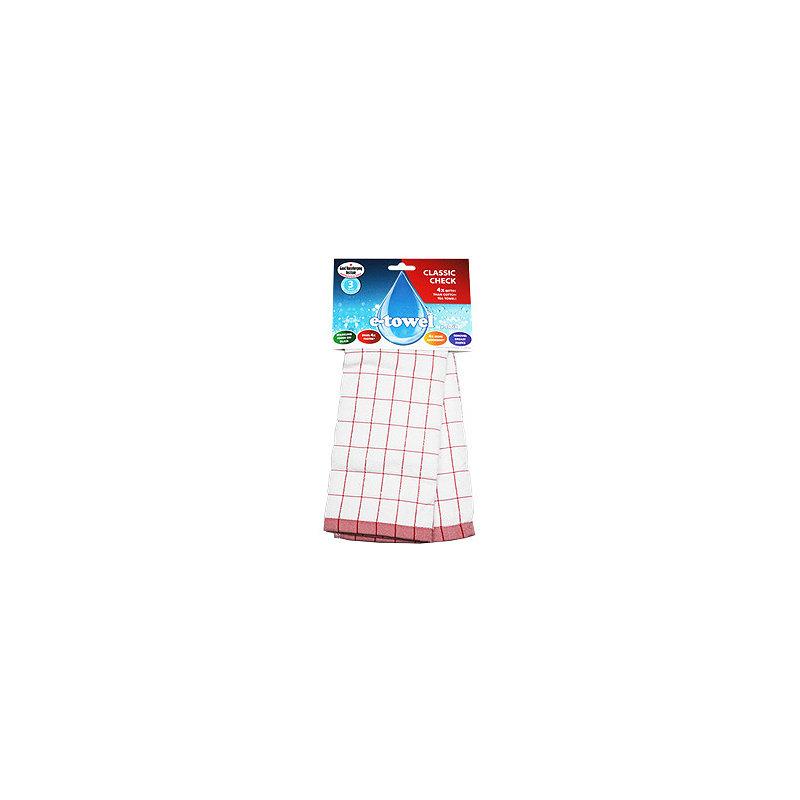 Red & White e-Cloth Microfibre Tea Towel