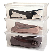 3 Stackable Clear Plastic Shoe Storage Boxes - Up to Size 8 Shoe