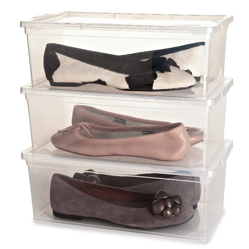 3 Stackable Clear Plastic Shoe Storage Boxes -