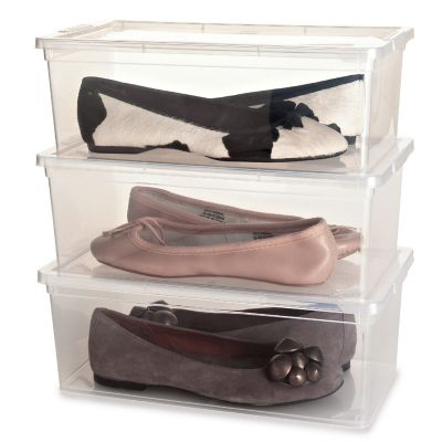 3 Stackable Clear Plastic Shoe Storage Boxes  Up to Size 8 Shoe