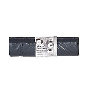 20 Xtra-Tuff Strong Drawstring Large Dustbin Liners - Black Bags 120L