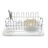 Oblong Small Compact Dish Drainer Rack - Stainless