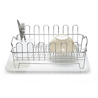 Oblong Small Compact Dish Drainer Rack - Stainless Steel alt image 1