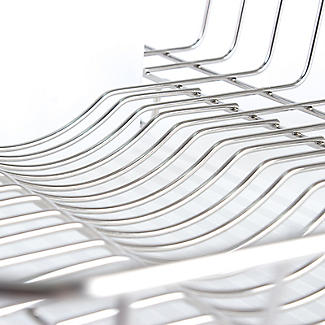 Oblong Small Compact Dish Drainer Rack - Stainless Steel alt image 3