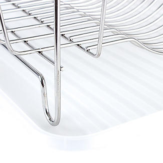 Oblong Small Compact Dish Drainer Rack - Stainless Steel alt image 4