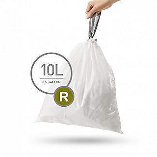 20 simplehuman Size R Drawstring Bin Liners - White Bags 10L