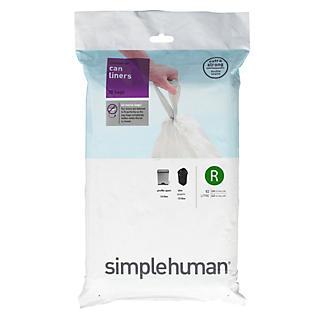 20 simplehuman Size R Drawstring Bin Liners - White Bags 10L alt image 2