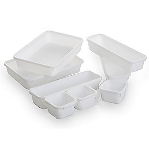 8 Piece Interlocking Bin Set White