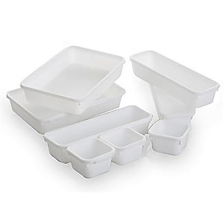 Interlocking Drawer Organiser 8pc Bin Set - White