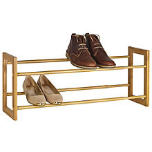 Extending and Stackable Steel Shoe Rack Wood-effect