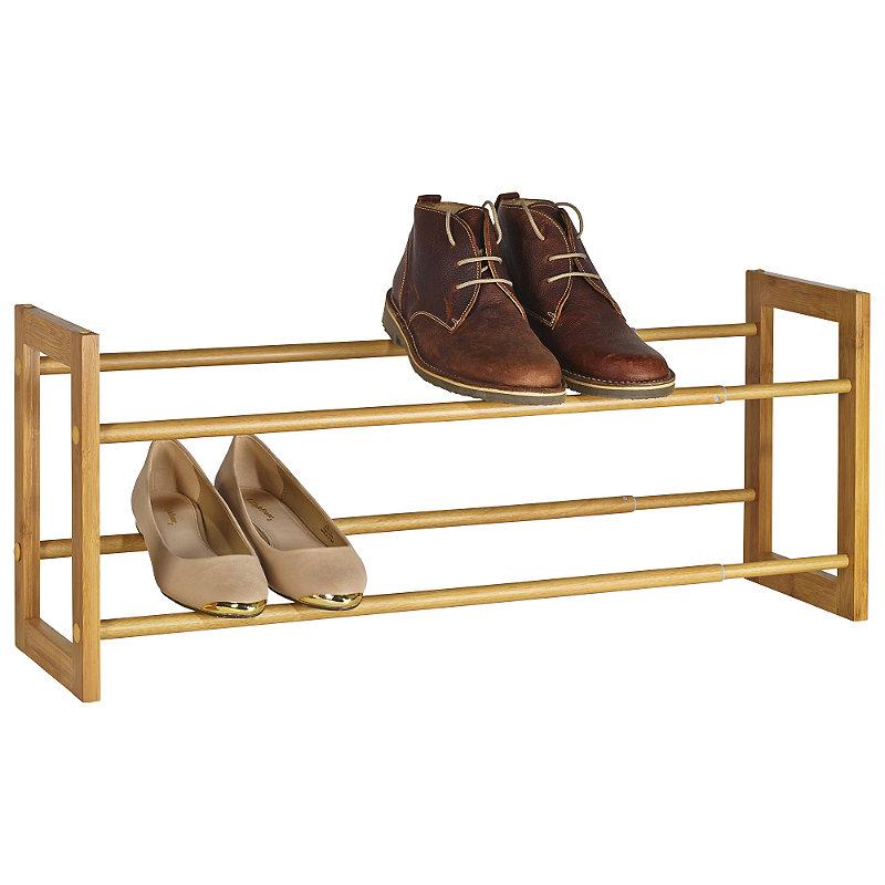 Extending and Stackable Steel Shoe Rack Wood-effect