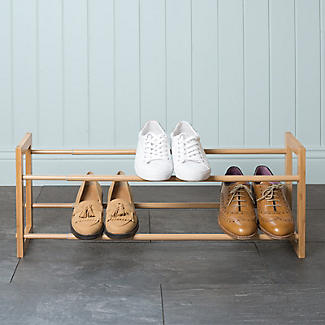 Extending and Stackable Steel Shoe Rack Wood-effect alt image 3