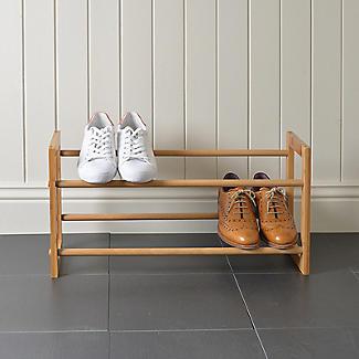 Extending and Stackable Steel Shoe Rack Wood-effect alt image 4