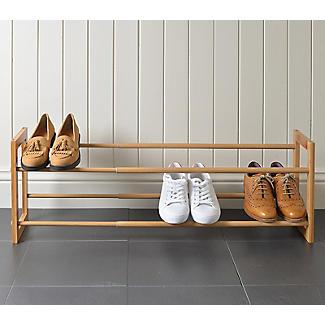 Extending and Stackable Steel Shoe Rack Wood-effect alt image 5