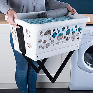 Wäschekorb mit ausklappbaren Beinen, weiß 81 L alt image 3