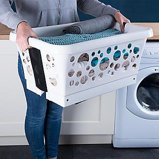 Wäschekorb mit ausklappbaren Beinen, weiß 81 L alt image 4