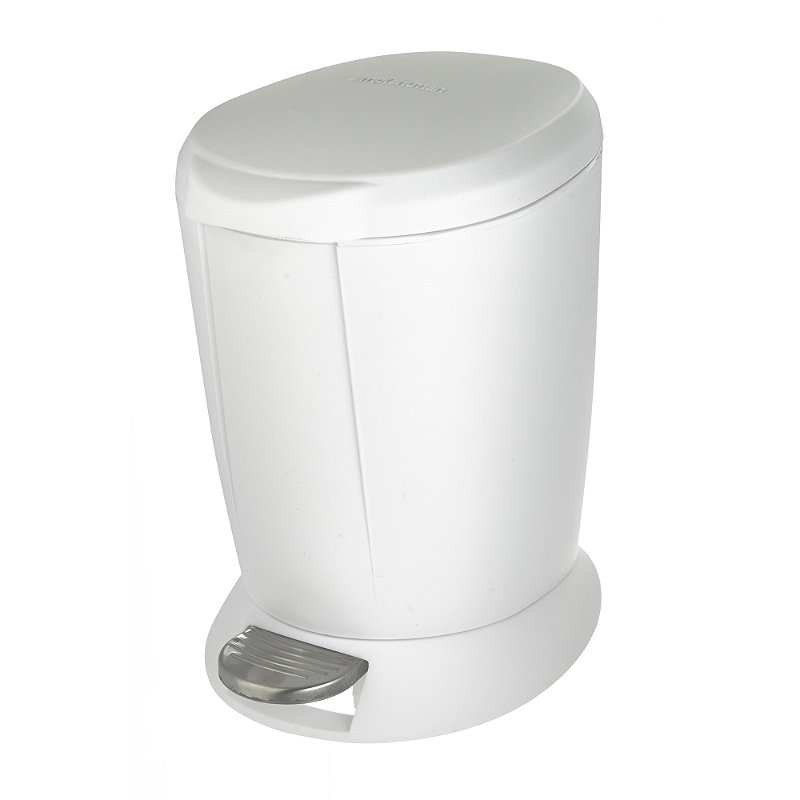White Bathroom Bin simplehuman bathroom pedal bin 6l - white