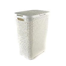 Curver Wäschekorb mit Deckel in Rattan-Optik, 60 L creme