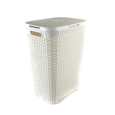 Curver Faux Rattan Lidded Laundry Basket 60L
