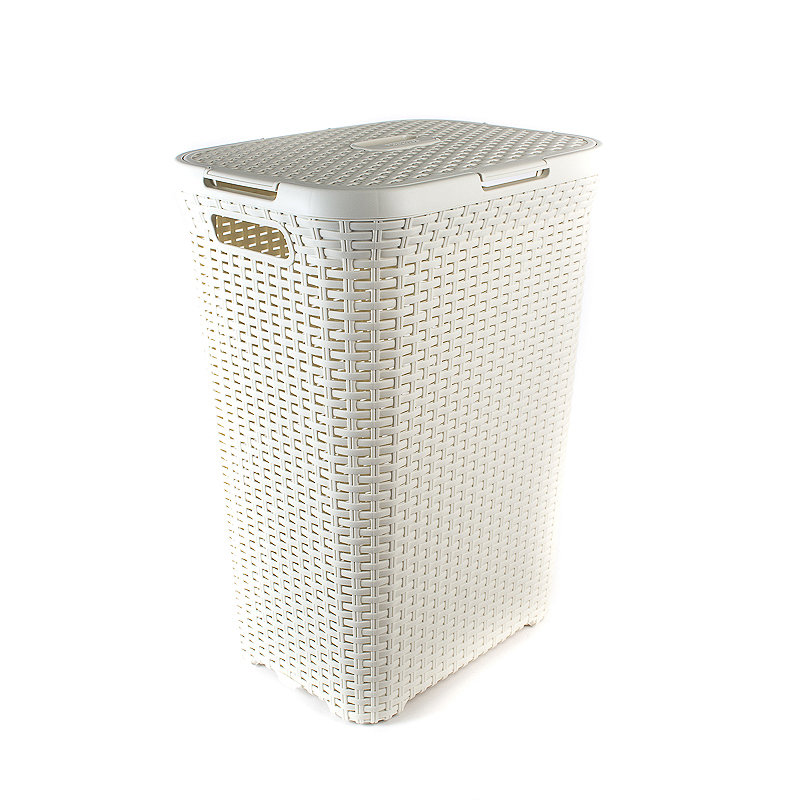 Curver faux rattan laundry washing basket 60 litres ebay - Rattan laundry basket with lid ...
