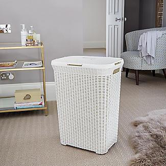 Curver Faux Rattan Lidded Laundry Basket 60L alt image 2
